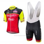 2017 Maillot Cyclisme Wieiev Rouge Manches Courtes Cuissard