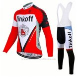 2017 Maillot Cyclisme Tinkoff Rouge Manches Longues et Cuissard