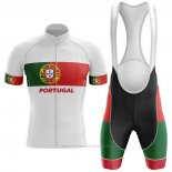 2020 Maillot Cyclisme Champion Portugal Blanc Vert Rouge Manches Courtes et Cuissard