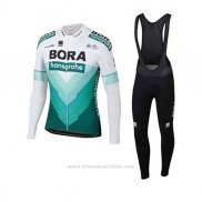 2020 Maillot Cyclisme Bora-hansgrone Vert Blanc Manches Longues et Cuissard
