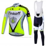 2016 Maillot Cyclisme Tinkoff Vert et Blanc Manches Longues et Cuissard