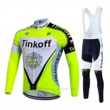 2017 Maillot Cyclisme Tinkoff Brillant Vert Manches Longues et Cuissard