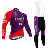 2020 Maillot Cyclisme Burgos BH Violet Rouge Manches Longues et Cuissard