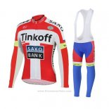 2018 Maillot Cyclisme Tinkoff Saxo Bank Rouge Blanc Manches Longues et Cuissard