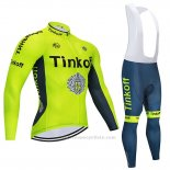 2020 Maillot Cyclisme Tinkoff Jaune Manches Longues et Cuissard