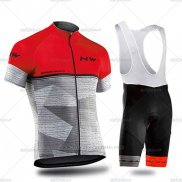 2019 Maillot Cyclisme Northwave Gris Rouge Manches Courtes et Cuissard