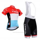 2015 Maillot Cyclisme Trek Factory Racing Factory Racing Blanc Rouge Manches Courtes et Cuissard