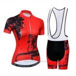 2019 Maillot Cyclisme Femme Weimostar Rouge Manches Courtes et Cuissard