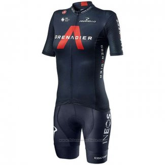 2020 Maillot Cyclisme Femme Ineos Grenadiers Rouge Profond Bleu Manches Courtes et Cuissard