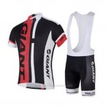 2018 Maillot Cyclisme Giant Noir Rouge Manches Courtes Cuissard