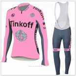 2018 Maillot Cyclisme Tinkoff Rose Manches Longues et Cuissard