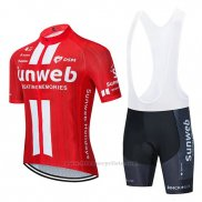 2020 Maillot Cyclisme Sunweb Rouge Blanc Manches Courtes et Cuissard