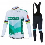 2021 Maillot Cyclisme Bora-Hansgrone Blanc Vert Manches Longues et Cuissard