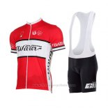 2015 Maillot Cyclisme Wieiev Blanc Rouge Manches Courtes et Cuissard