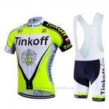2017 Maillot Cyclisme Tinkoff Brillant Vert Manches Courtes et Cuissard