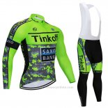 2020 Maillot Cyclisme Tinkoff Saxo Bank Vert Camouflage Manches Longues et Cuissard