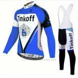 2017 Maillot Cyclisme Tinkoff Bleu Manches Longues et Cuissard
