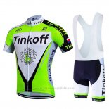 2017 Maillot Cyclisme Tinkoff Vert Manches Courtes et Cuissard