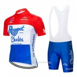 2019 Maillot Cyclisme Roompot Charles Rouge Blanc Bleu Manches Courtes et Cuissard