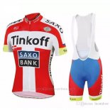 2018 Maillot Cyclisme Tinkoff Saxo Bank Rouge Blanc Manches Courtes et Cuissard