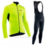 2019 Maillot Cyclisme Northwave Vert Manches Longues et Cuissard
