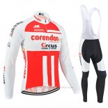 2019 Maillot Cyclisme Corendon Circus Blanc Rouge Manches Longues et Cuissard