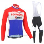 2019 Maillot Cyclisme Corendon Circus Rouge Blanc Azul Manches Longues et Cuissard
