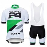 2019 Maillot Cyclisme Herbalifr 24 Blanc Vert Manches Courtes et Cuissard