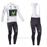 2013 Maillot Cyclisme Movistar Lider Blanc Manches Longues et Cuissard