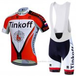 2016 Maillot Cyclisme Tinkoff Rouge et Blanc Manches Courtes et Cuissard