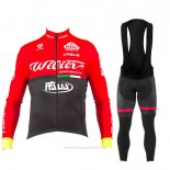 2017 Maillot Cyclisme Wieiev Rouge Manches Longues et Cuissard