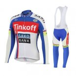 2018 Maillot Cyclisme Tinkoff Saxo Bank Rouge Bleu Manches Longues et Cuissard