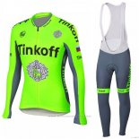 2018 Maillot Cyclisme Tinkoff Vert Manches Longues et Cuissard
