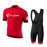 2018 Maillot Cyclisme Cube Rouge Manches Courtes et Cuissard
